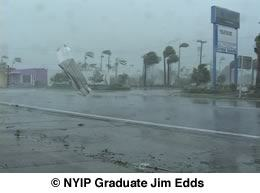 Note the debris flying around during the hurricane