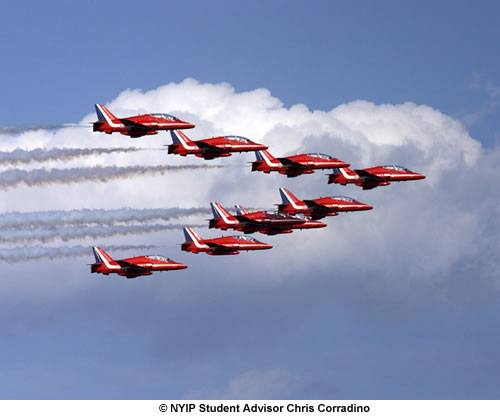 In 2008, The United Kingdom's Red Arrows performed over Staten Island in their first ever visit to New York.  A 400mm lens was used to emphasize the team's formation, along with the clouds, and smoke.
