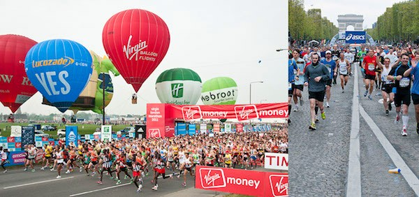The start of the London and Paris Marathons — good luck trying to spot the people you've been assigned to shoot amongs