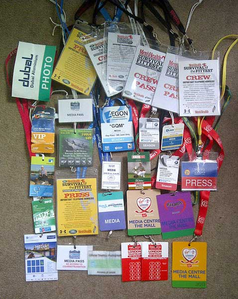 A small selection of the media passes I've acquired in the last few years.