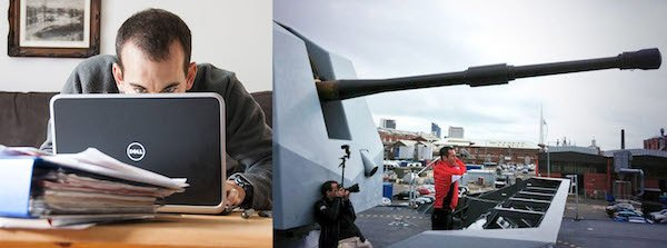 Which would you rather be doing — sitting in front of a laptop with piles of paperwork doing your accounts, or taking pictures from the gun turret of a Royal Navy Destroyer?