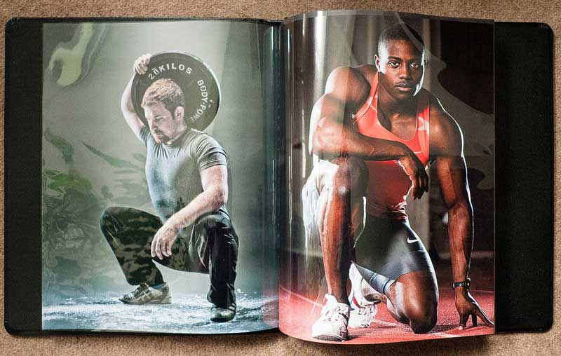 A spread from one of my current printed portfolios. This is the portrait portfolio; the other one focuses on fitness and sports work.
