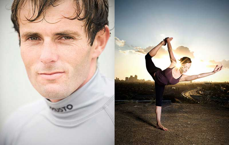 Nick Dempsey, Olympic Medalist Windsurfer, and Katie, Yoga Teacher. Nick was clearly shot in very soft light (in fact, on an overcast day, with the sand of the beach acting as a reflector), and Katie was shot at sunset and lit with a soft light from camera right. Look at the edges and direction of the shadow on the left, as well as (obviously) the sun behind her head!