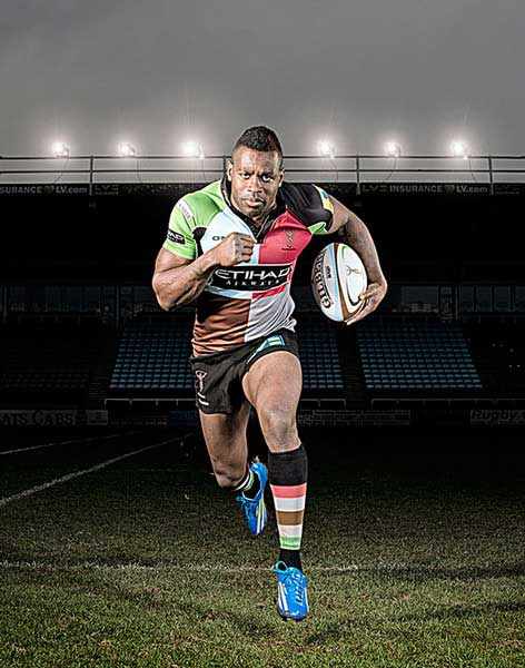 "Ugo Monye, England Rugby Player for Men's Health. Although I've made subtle alterations to tone and sharpness in Photoshop, the main ""cheat"" are the lights in the background. They weren't lit on the day, and close inspection will show that they're all pretty identical and aren't casting any light on the ground, (or on Ugo)!"