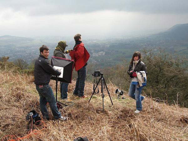 On a hillside above the Welsh town of Abergavenny on a shoot for Nokia a few years ago. A lot of miscommunication resulted in us selecting somewhere 160 miles from London. Upon arrival and being shown the full brief, it quickly became apparent we could have shot the job much closer to home. Always get the brief worked out first!