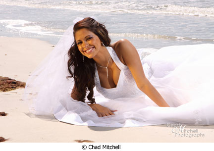 Chad Mitchell bride in surf