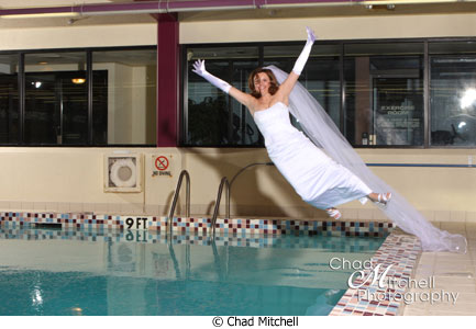 Chad Mitchell bride in swimming pool